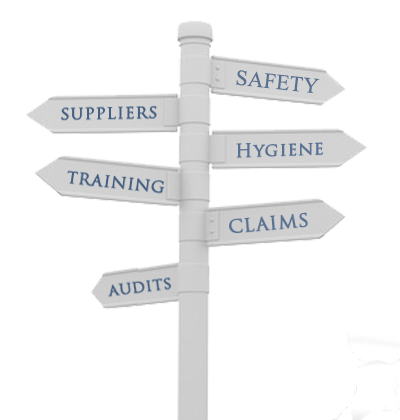 Safety, Suppliers, Hygiene, Training, Claims, Audits